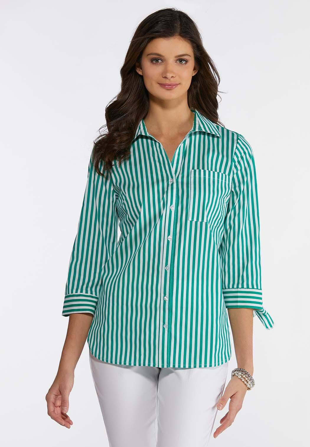 Tie Sleeve Green Stripe Shirt