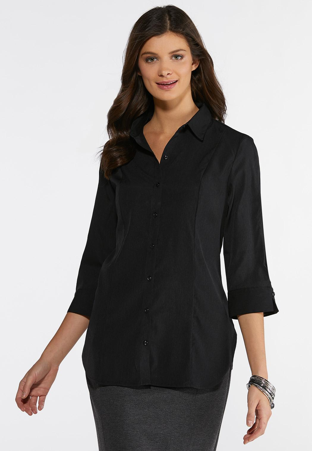 Solid Button Down Pleated Shirt