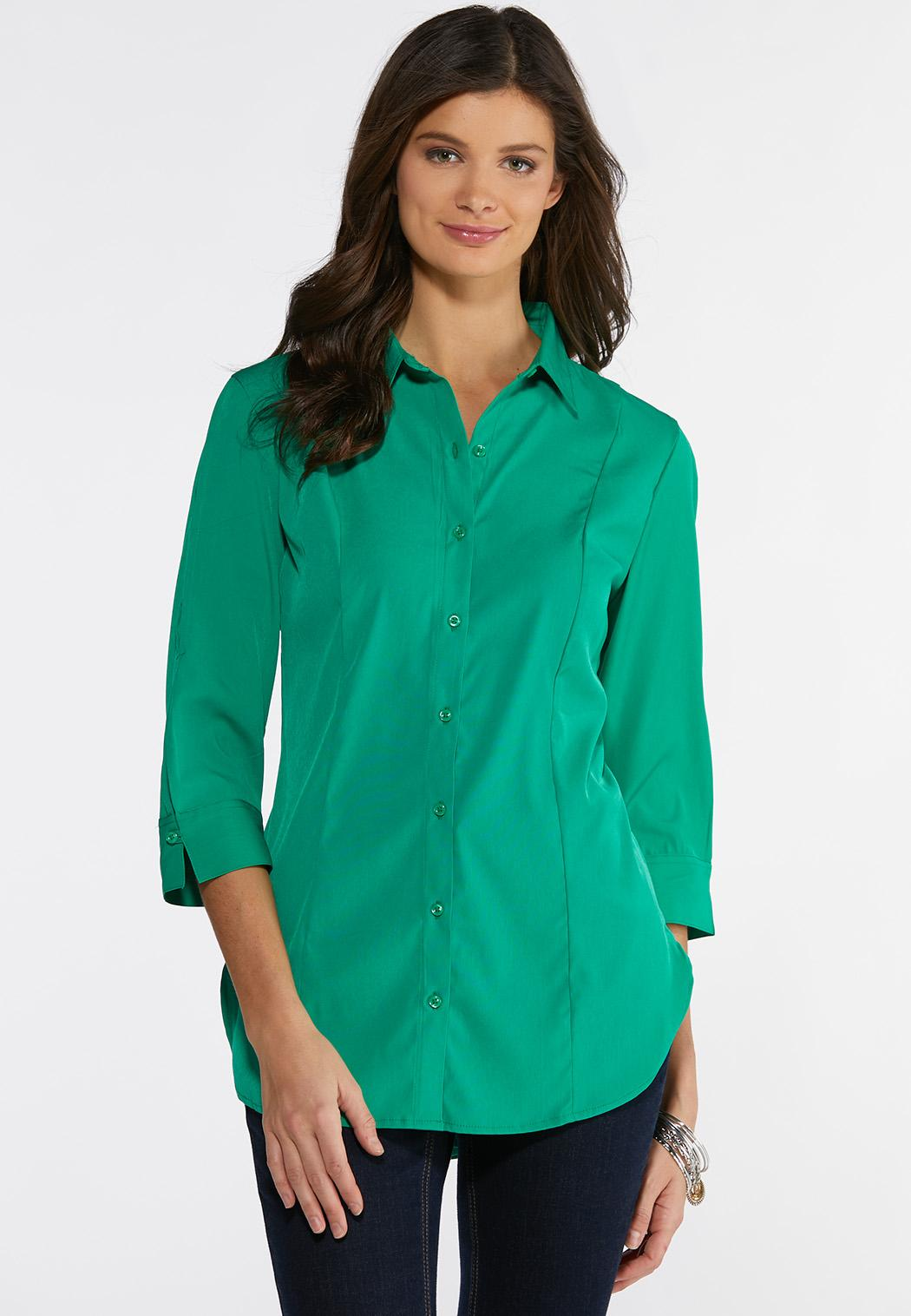 7a6c332445d9b Plus Size Solid Button Down Pleated Shirt Shirts   Blouses Cato Fashions