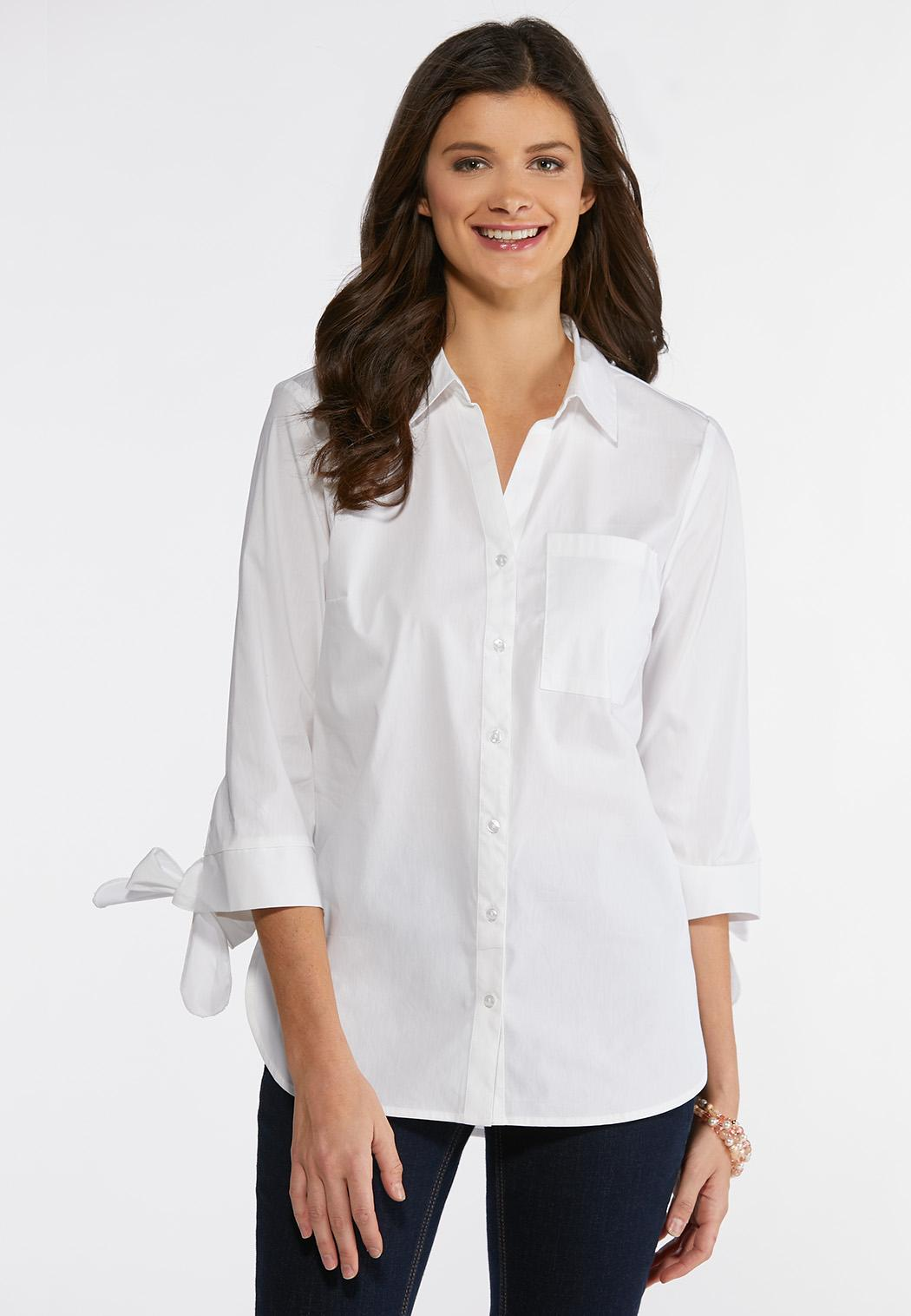 Plus Size Tie Sleeve Button Down Shirt Shirts Blouses Cato Fashions