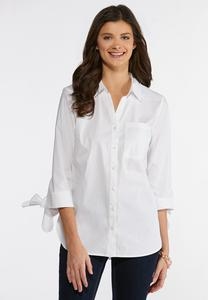 Plus Size Tie Sleeve Button Down Shirt
