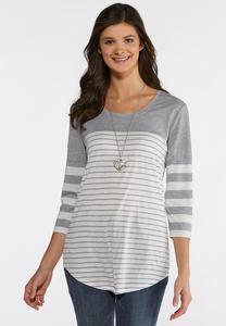 Plus Size Gray Stripe Top