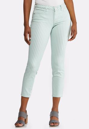 Green Stripe Ankle Jeans