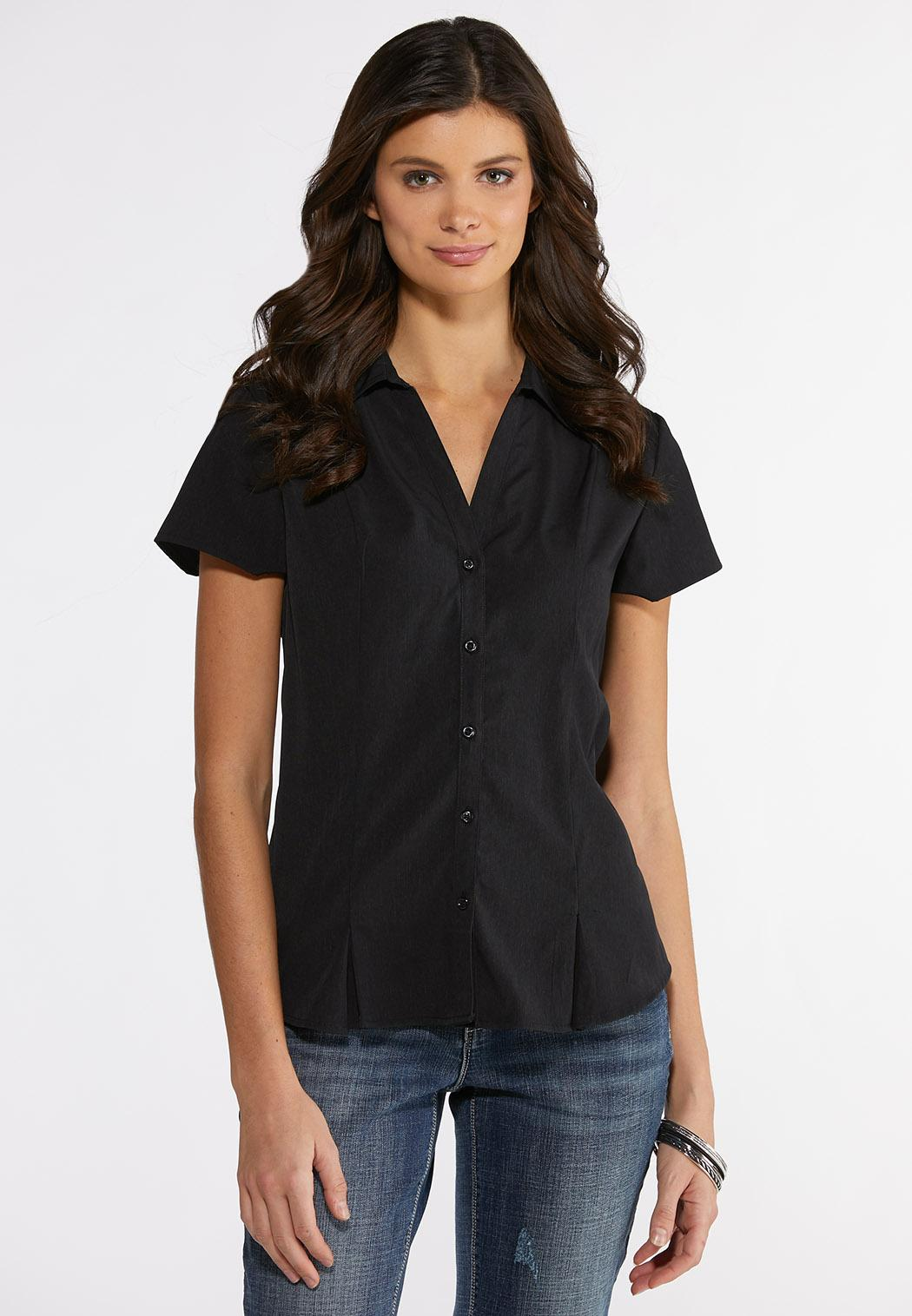 64a4b1af731de Short Sleeve Pleated Shirt Shirts   Blouses Cato Fashions