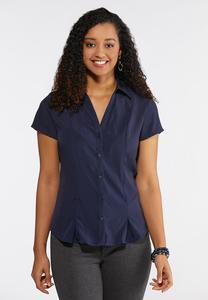 Plus Size Short Sleeve Pleated Shirt