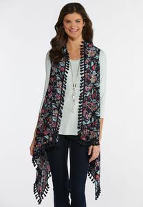Tasseled Country Floral Vest