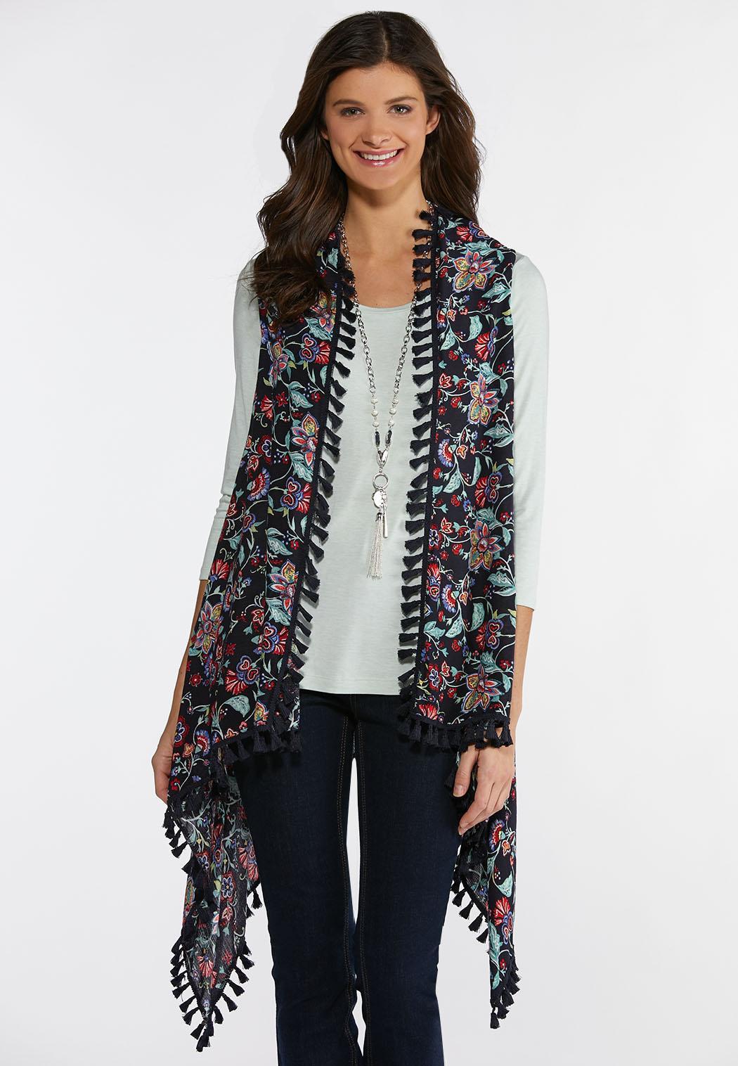 8c50571faed6 Plus Size Tasseled Country Floral Vest Vests Cato Fashions