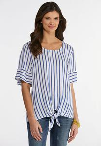 Plus Size Stripe Knotted Front Top