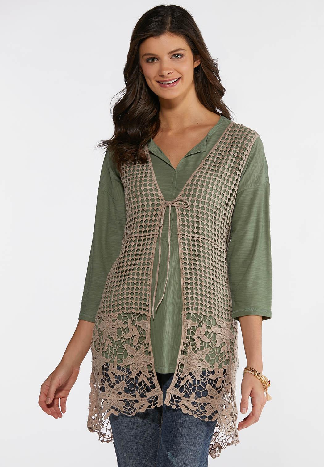 e63dd49b812 Plus Size Tan Mix Stitch Vest Vests Cato Fashions