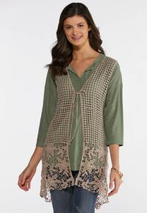 Plus Size Tan Mix Stitch Vest