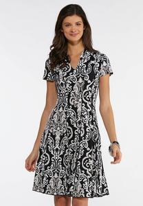 Plus Size Contrast Swirl Puff Print Dress
