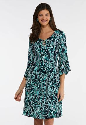 Plus Size Puff Leaf Print Swing Dress