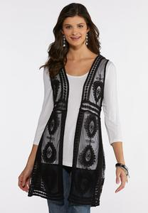 Plus Size Mesh Medallion Vest