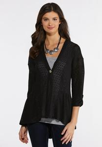Black Peplum Cardigan