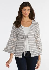 Plus Size Gray Striped Cardigan