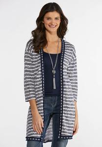 Stripe Fringe Trim Cardigan
