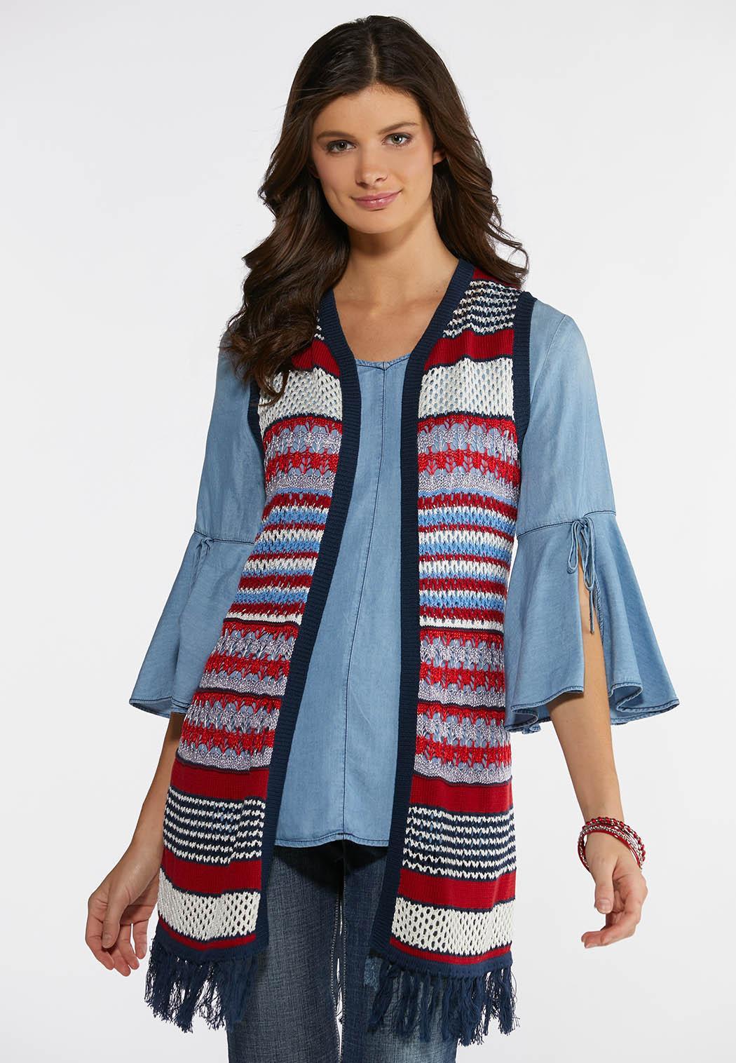 Plus Size Americana Fringe Sweater Vest