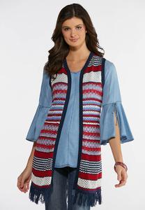 85e3af86b1 Plus Size Americana Fringe Sweater Vest