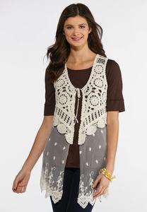Plus Size Mesh Crochet Vest