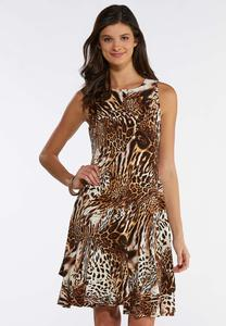 Plus Size Animal Print Swing Dress