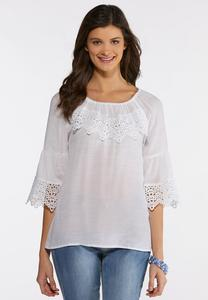 Plus Size Scalloped Lace Trim Top