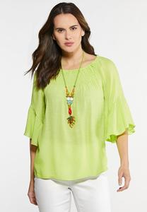 Plus Size Crepe Smocked Poet Top