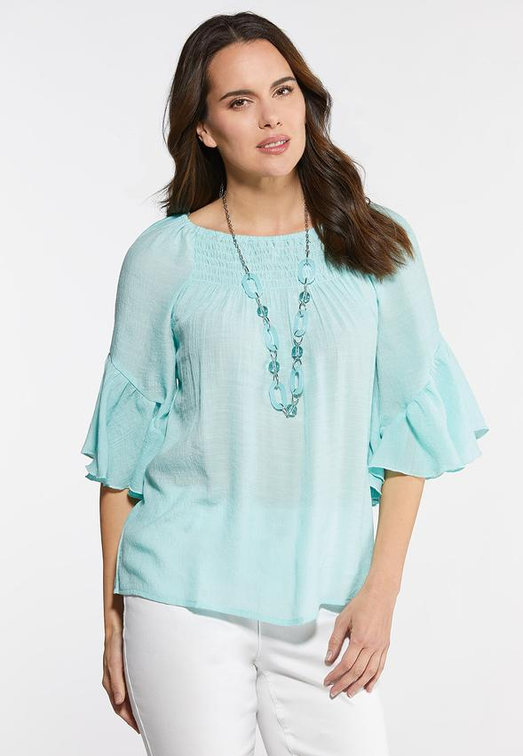 711899bcfca Plus Size Crepe Smocked Poet Top Shirts   Blouses Cato Fashions