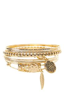 XL Assorted Charm Metal Bangle Set