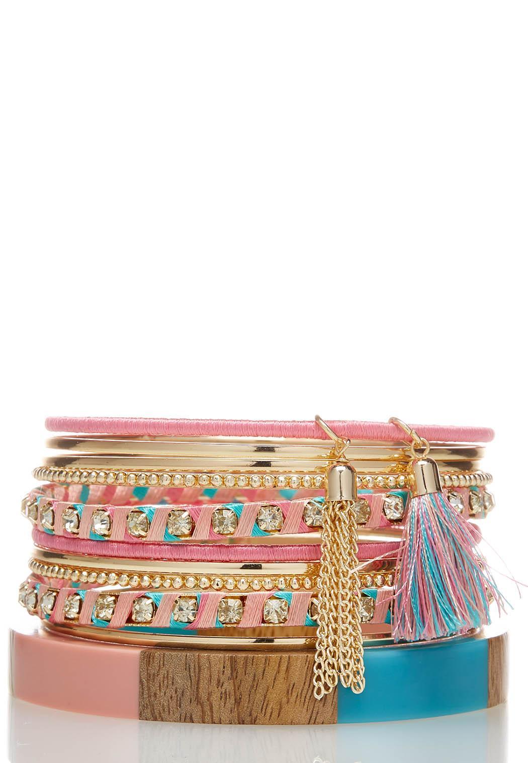 Wood Bangle Colored Bracelet Set