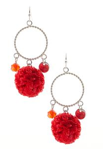 Raffia Pom Dangle Earrings