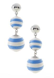Striped Thread Ball Earrings