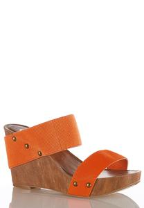 Stretch Band Wedge Sandals