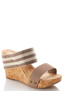 Striped Band Cork Wedges