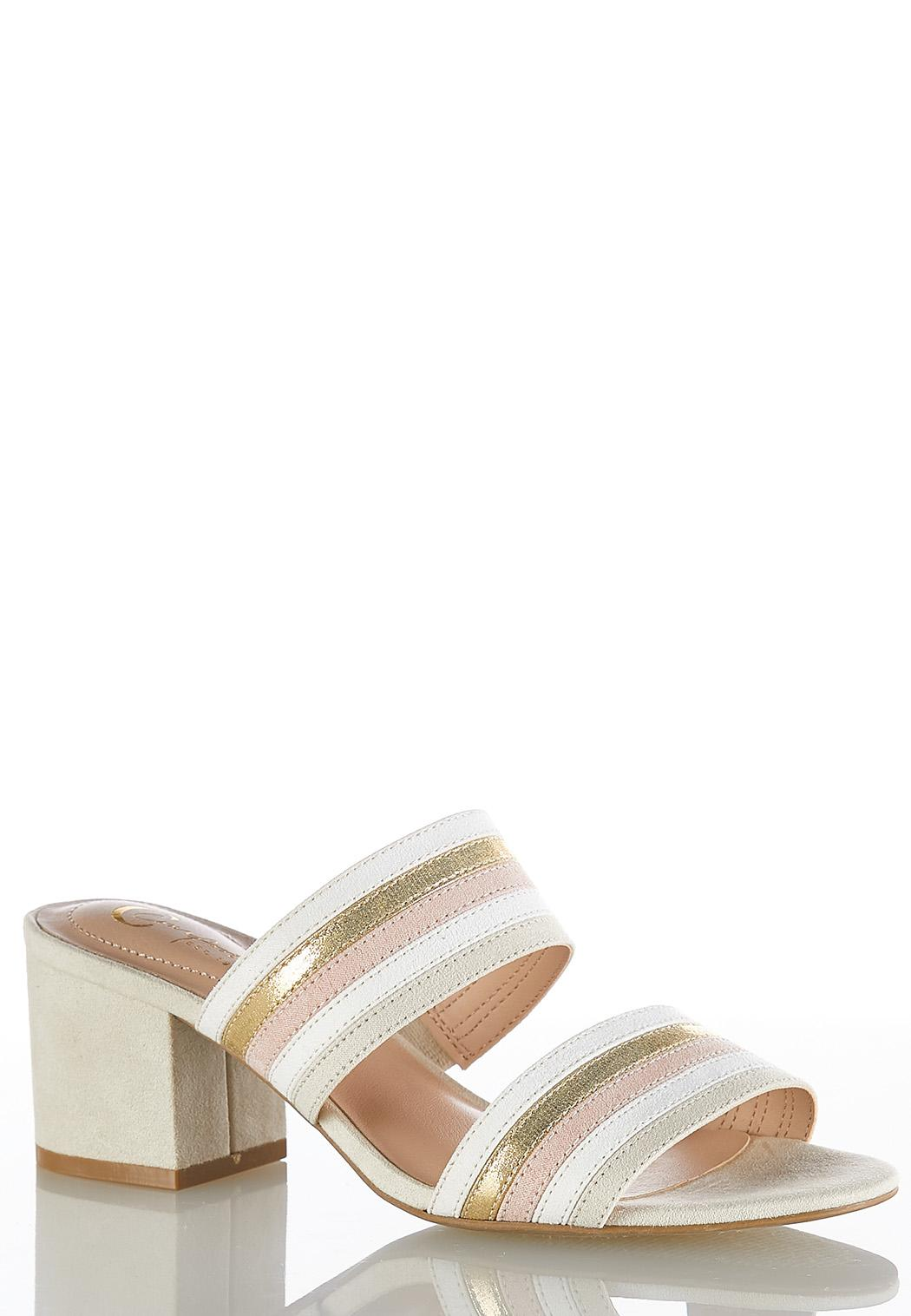 1f666e1d848 Striped Band Heeled Slides Sandals Cato Fashions