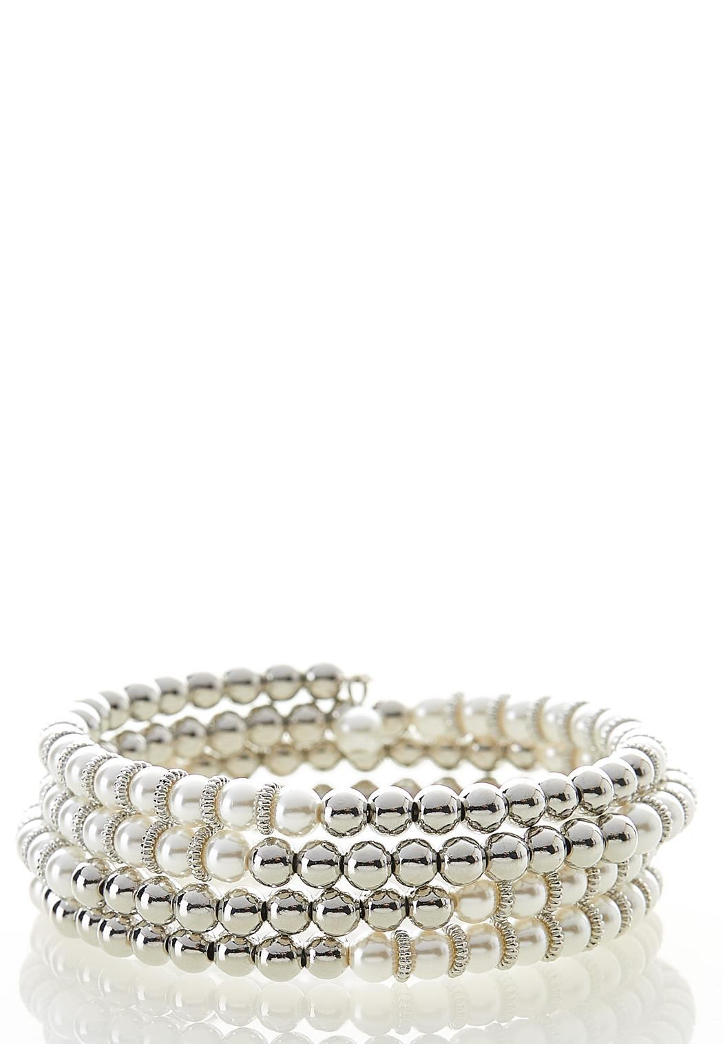 Pearl And Silver Bead Bracelet
