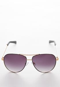 Textured Metal Aviator Sunglasses