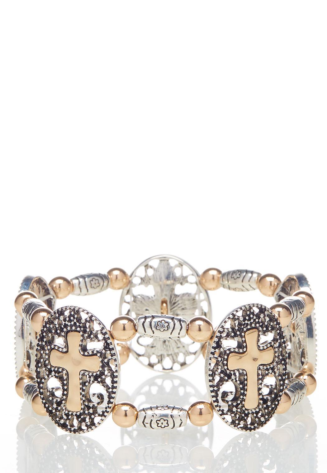 Two-Tone Cross Stretch Bracelet