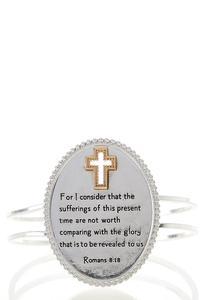 Romans Scripture Oval Cuff Bracelet