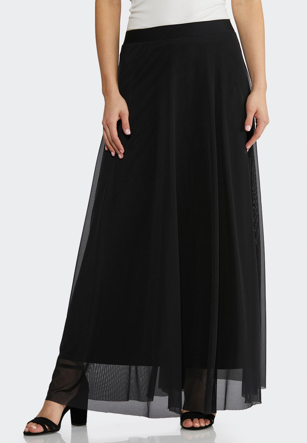 Plus Size Solid Mesh Maxi Skirt