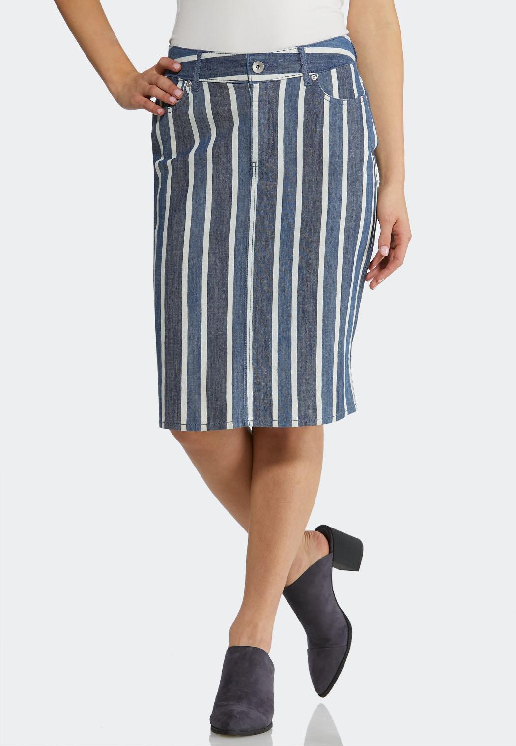 Plus Size Stripe Denim Skirt