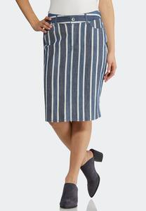 Plus Size Stripe Denim Skirt