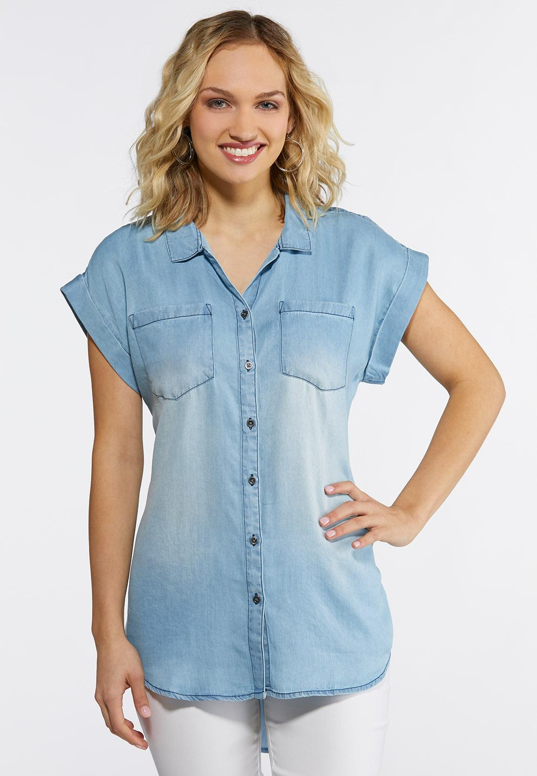 Plus Size Button Down Chambray Shirt Shirts & Amp ; Blouses Cato Fashions