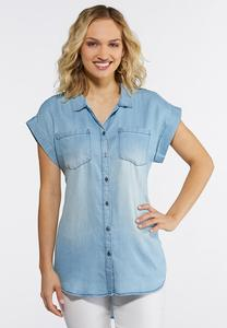 Plus Size Button Down Chambray Shirt