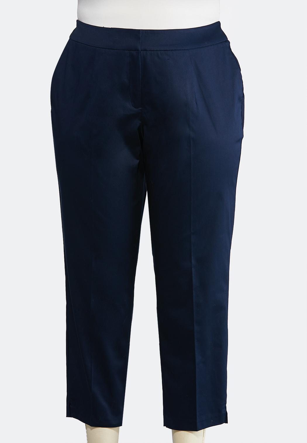Plus Size Solid Sateen Ankle Pants