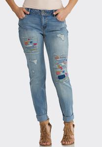 Distressed Colorful Stitch Jeans