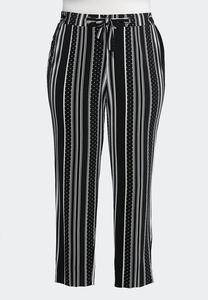 Plus Size Contrast Dotted Stripe Pants