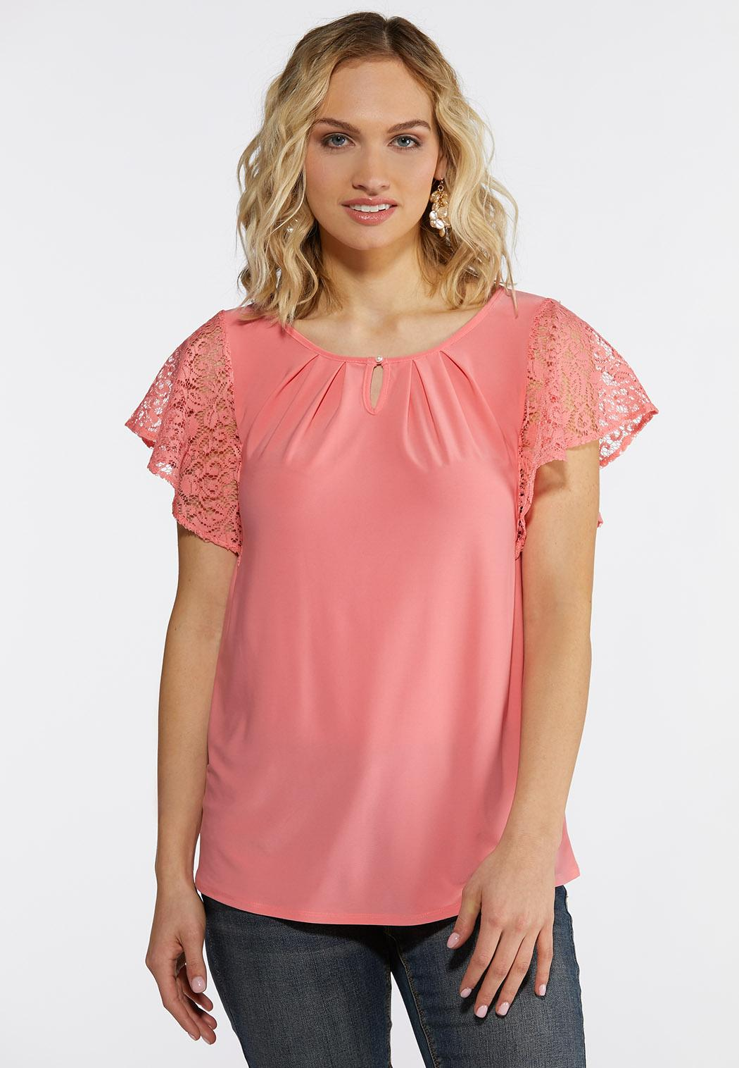 Lacy Flutter Sleeve Top