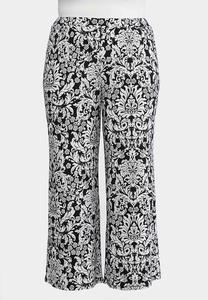 Plus Size Scroll Palazzo Pants