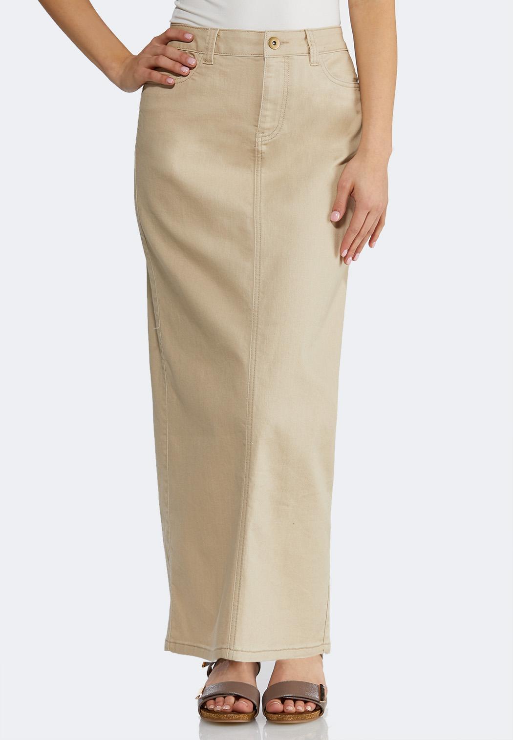 be7366d7f57c4 Plus Size Khaki Denim Maxi Skirt Skirts Cato Fashions