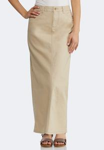 Plus Size Khaki Denim Maxi Skirt